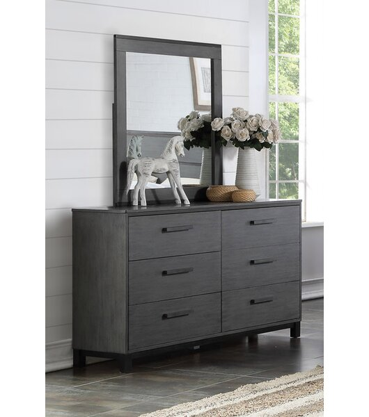 Hidalgo 6 Drawer Double Dresser with Mirror by Brayden Studio
