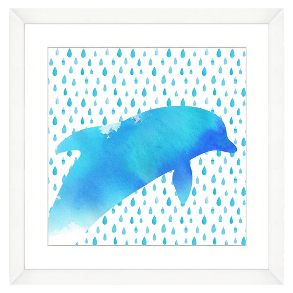 Dolphin Watercolor Sea Creatures Framed Graphic Art Print by Birch Lane Kids™
