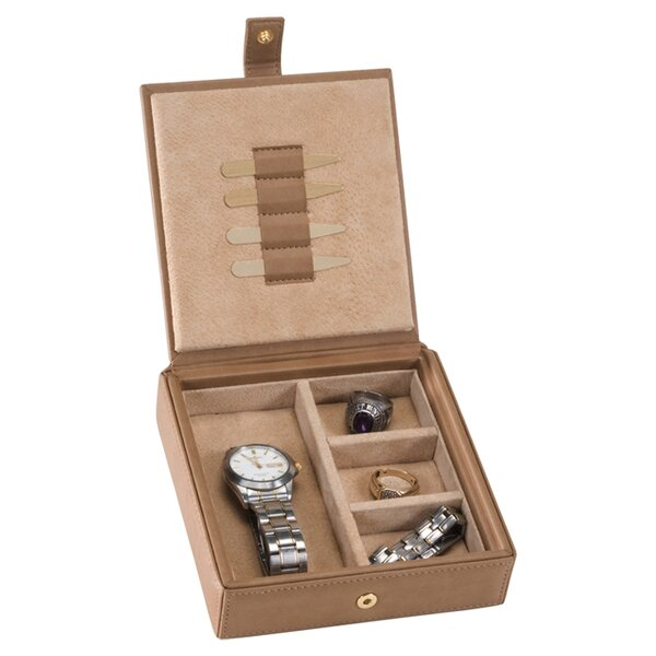 royce leather royce leather menu0027s cufflink watch and jewelry travel valet box in leather with suede lining u0026 reviews wayfair