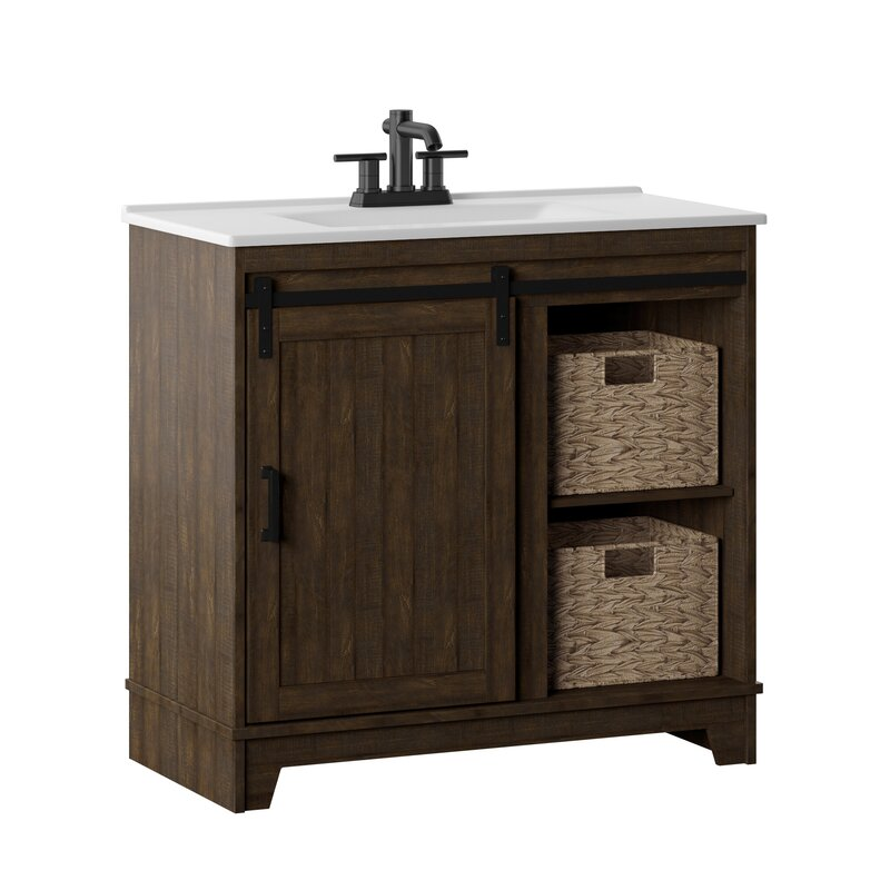 "Wayfair Bathroom Vanity >> Gracie Oaks Trogdon Sliding Barn Door 36"" Single Bathroom Vanity Set & Reviews | Wayfair"