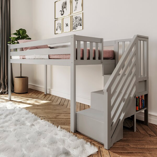 Twin-Size Low Loft Bed With Staircase by Harriet Bee