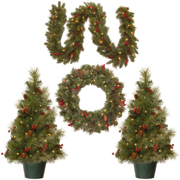 4 Piece Green Pine Artificial Christmas Tree, Wreath and Garland Set by National Tree Co.