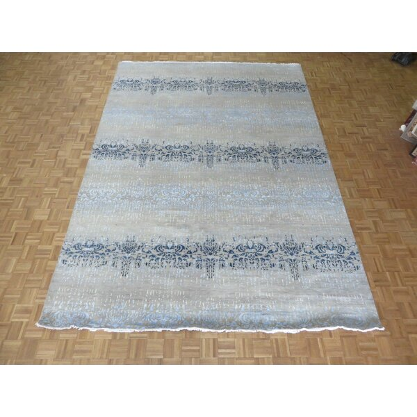 One-of-a-Kind Pasuruan Modern Abstract Hand-Knotted Wool Beige/Blue Area Rug by Bungalow Rose
