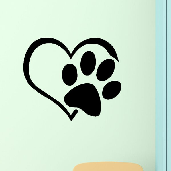 Heart with Paws Pet Vinyl Wall Decal by Decal the Walls