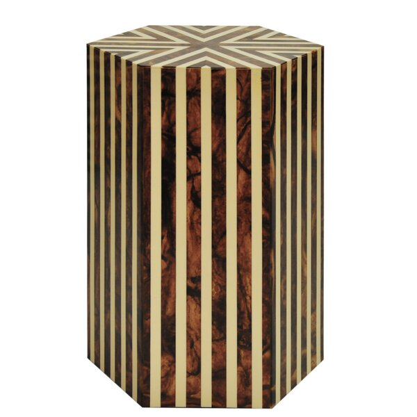 Vertical Stripe End Table By Worlds Away