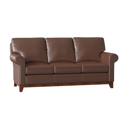 "Camden Genuine Leather 77"""" Rolled Arm Sofa Omnia Leather Body Fabric: Softsations Swiss Coffee, Leg Color: Cherry -  Camden Sofa - 13001-Softsations Swiss Coffee-Cherry"