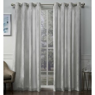 Vallejo Textured Linen Jacquard Geometric Grommet Curtain Panels Set Of 2