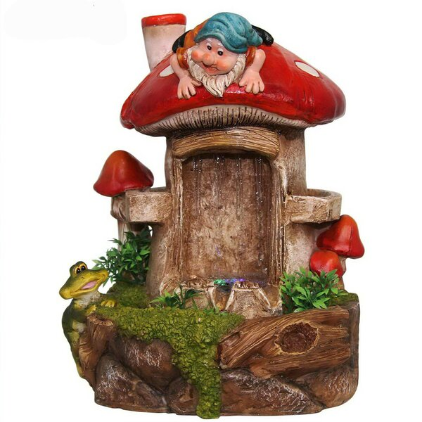 Resin Cute Gnome and Frog Sculptural Fountain by Sintechno