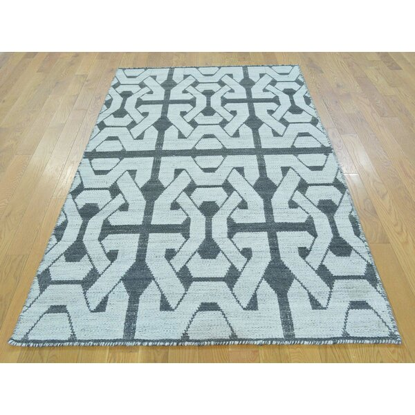One-of-a-Kind Blanche Reversible Handmade Kilim Black Wool Area Rug by Isabelline