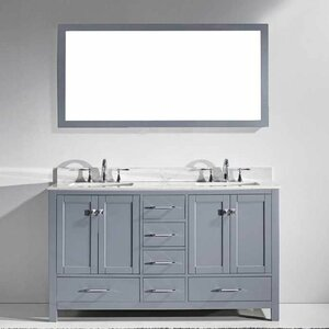 Melba 60 Double Bathroom Vanity Set with Carrara White Top and Mirror Zipcode Design