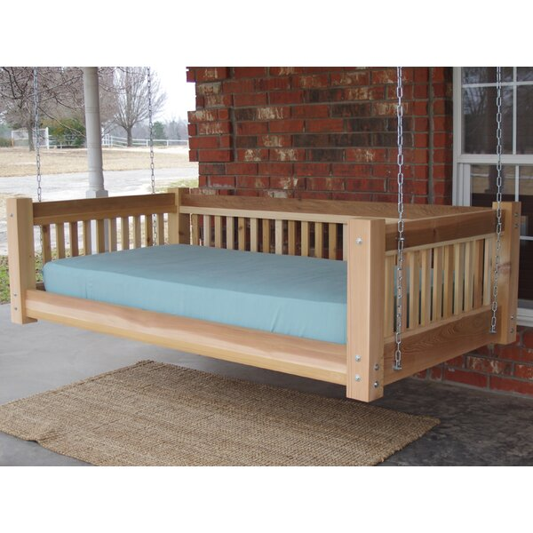 Arvizu Cedar Traditional Style Hanging Daybed Swing by Loon Peak Loon Peak