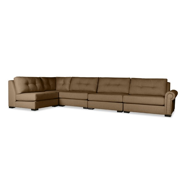 Willia Buttoned Left L-Shape Modular Sectional by Three Posts