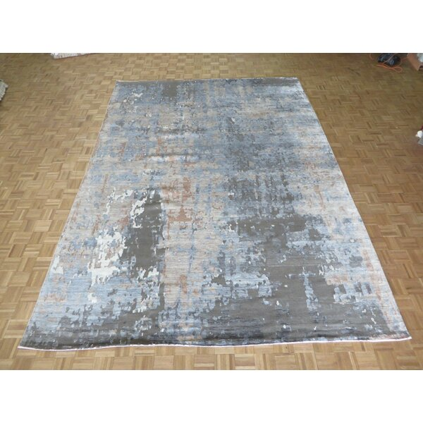 One-of-a-Kind Crest Lane Modern Abstract Hand-Knotted Brown/Gray Area Rug by Foundry Select