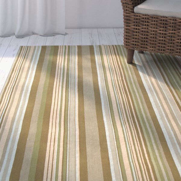 Atilia Brown Striped Area Rug by Highland Dunes