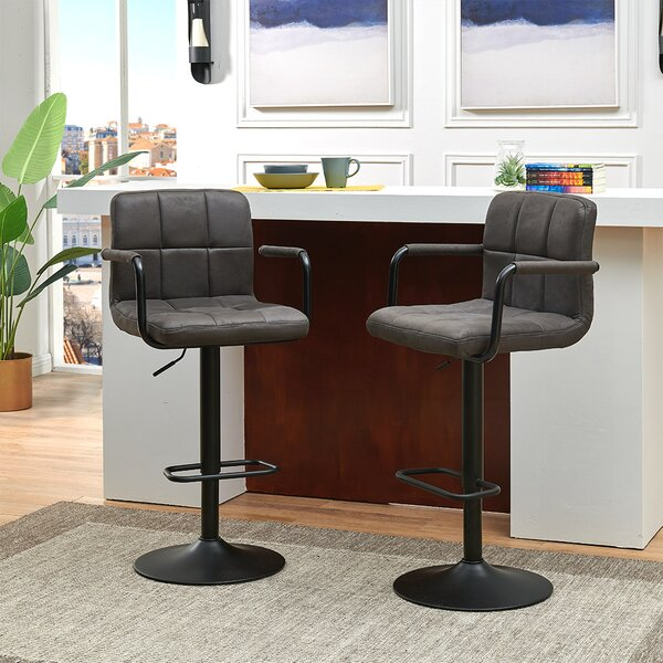 Amjed Swivel Adjustable Height Bar Stool (Set Of 2) By Latitude Run