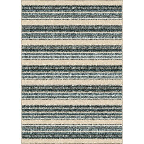 Portwood Stripe Admiral Blue/Beige Indoor/Outdoor Area Rug by Beachcrest Home