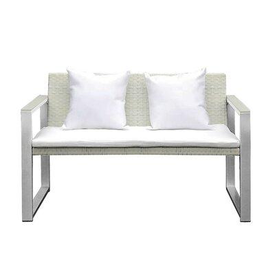 Ultra Comfortable Upholstered Anodized Aluminum Loveseat Product Photo