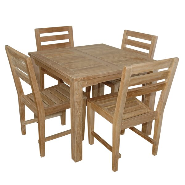 Kratz 5 Piece Teak Dining Set Bayou Breeze XAZ1963