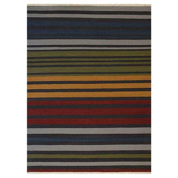 Housel Handmade Kilim Wool Green/Blue Area Rug by Ebern Designs