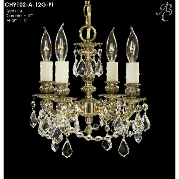 Biella 4-Light Candle Style Chandelier by American Brass & Crystal