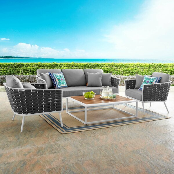 Rossville 4 Piece Sofa Seating Group with Cushions by Ivy Bronx Ivy Bronx