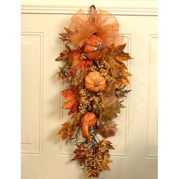 Sparkling Pumpkin Fall Door with Berry Swag by Floral Home Decor