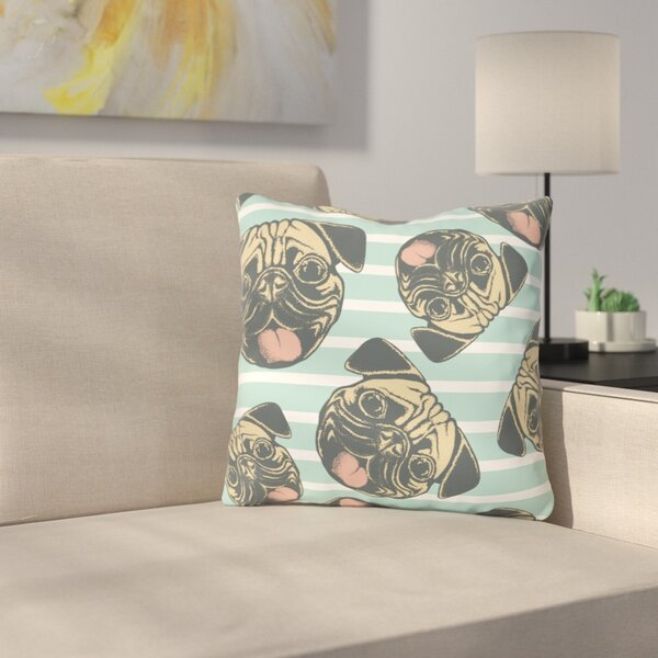 Square Striped Pug Throw Pillow by East Urban Home