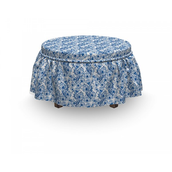 Review Russian Gzhel Flora 2 Piece Box Cushion Ottoman Slipcover Set
