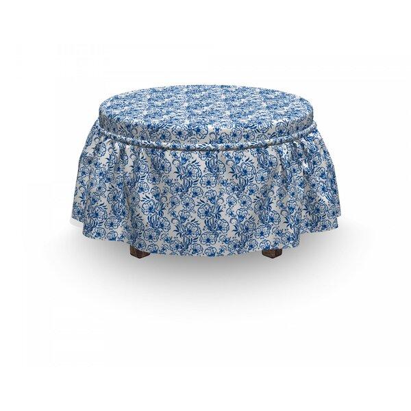 Russian Gzhel Flora 2 Piece Box Cushion Ottoman Slipcover Set By East Urban Home