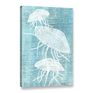 Jellyfish And Sand Dollars II Graphic Art on Wrapped Canvas by Beachcrest Home