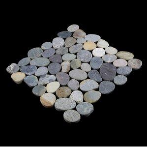 sliced random sized natural stone pebble tile in river grey blend
