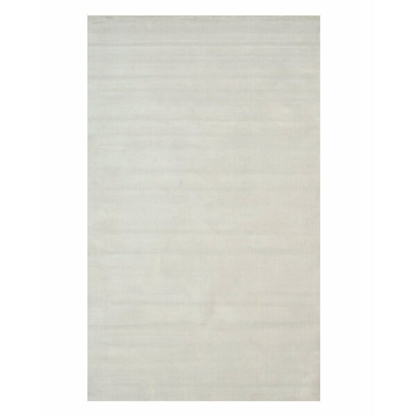 Gerrish Viscose Solid Random Hand-Woven White Area Rug by Everly Quinn