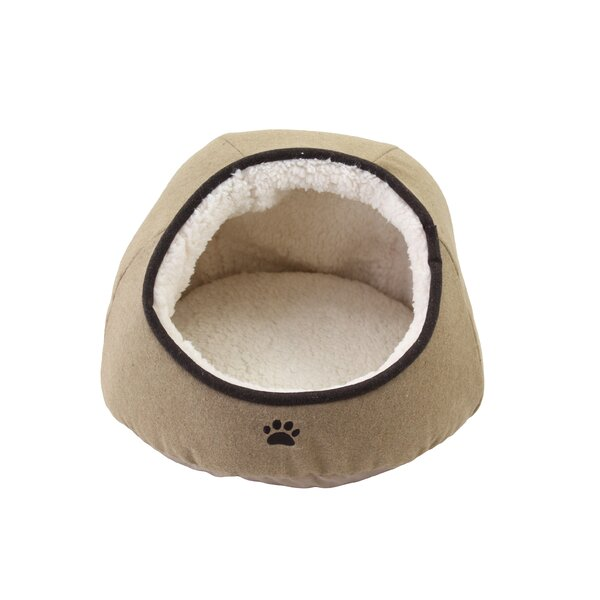 Edgao Felt Paw Embroidered Dome Pet Bed with Sherpa Interior by Tucker Murphy Pet