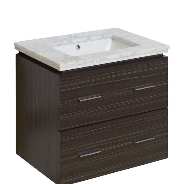 Kyra Modern 24 Natural Wood Single Bathroom Vanity Set by Orren Ellis