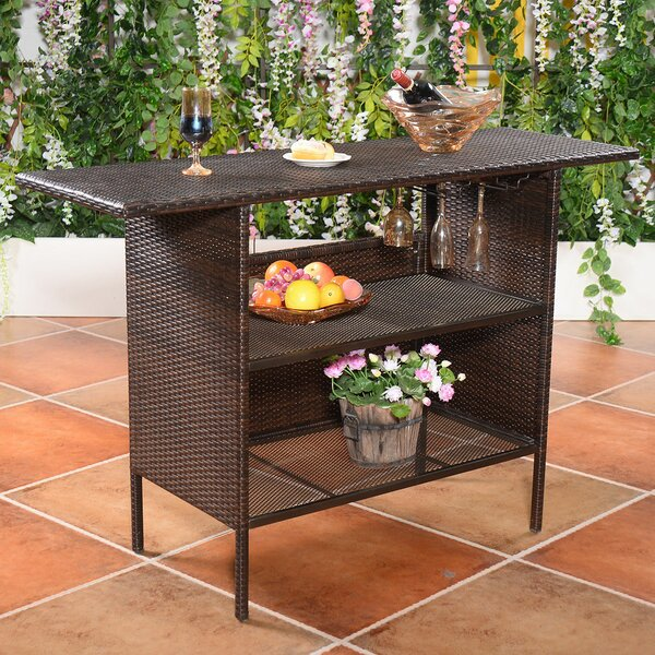 Trumansburg Rattan Bar Table by Ebern Designs