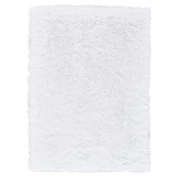 Linden Faux Fur Ivory Area Rug by House of Hampton