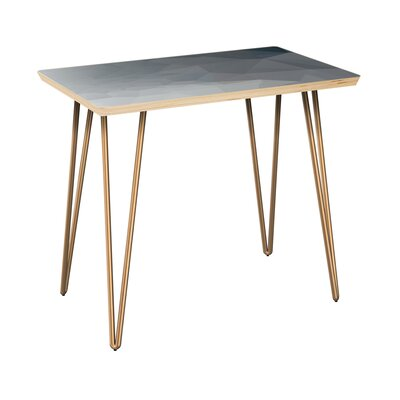 Lake Butler End Table Table Top Boarder Color: Natural, Table Base Color: Brass, Table Top Color: Gray/Black