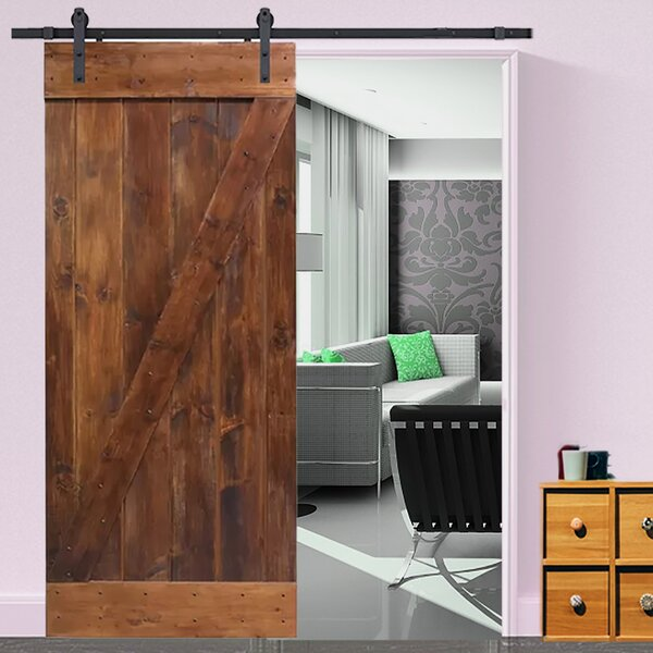 Knotty Solid Panelled Wood Slab Interior Barn Door by TMS