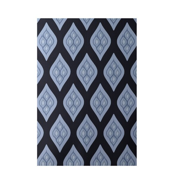 Floral Hand-Woven Navy Blue Indoor/Outdoor Area Rug by e by design