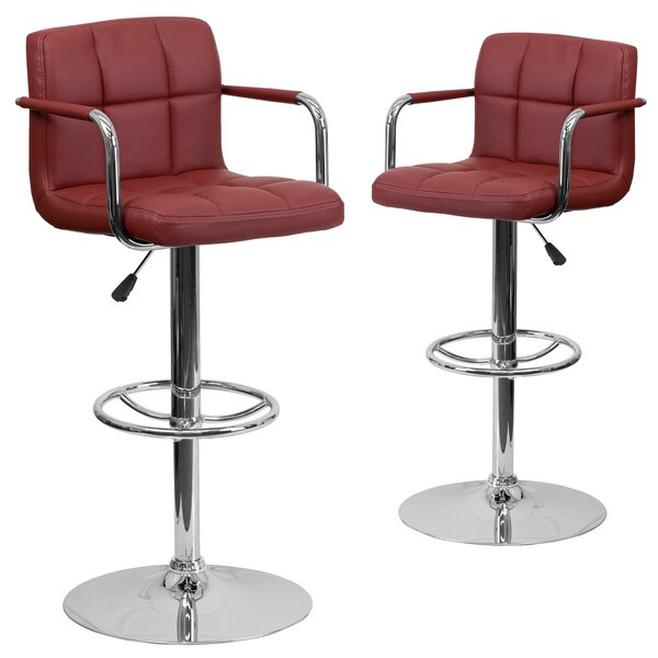 Milam Adjustable Height Swivel Bar Stool (Set of 2) by Wrought Studio