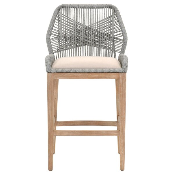 Kyson Striking Woven Loom 30 Patio Bar Stool by Bungalow Rose
