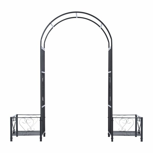 Decorative Steel Arbor with Planters by Outsunny