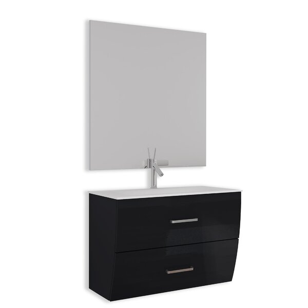 Ralls Gloss and Matte 24 Single Bathroom Vanity Set with Mirror by Orren Ellis