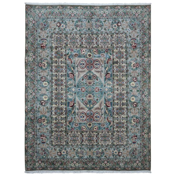 One-of-a-Kind Evert Tabriz Oriental Hand Woven Wool Blue/Green Area Rug by Isabelline
