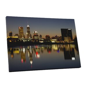 City Skylines Indianapolis Indiana Night Photographic Print on Wrapped Canvas by Pingo World