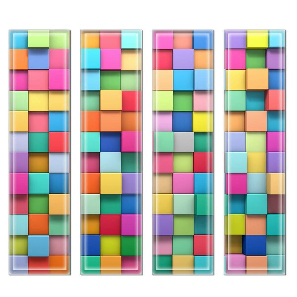 Crystal 3 x 12 Beveled Glass Subway Tile in Blue/Pink by Upscale Designs by EMA