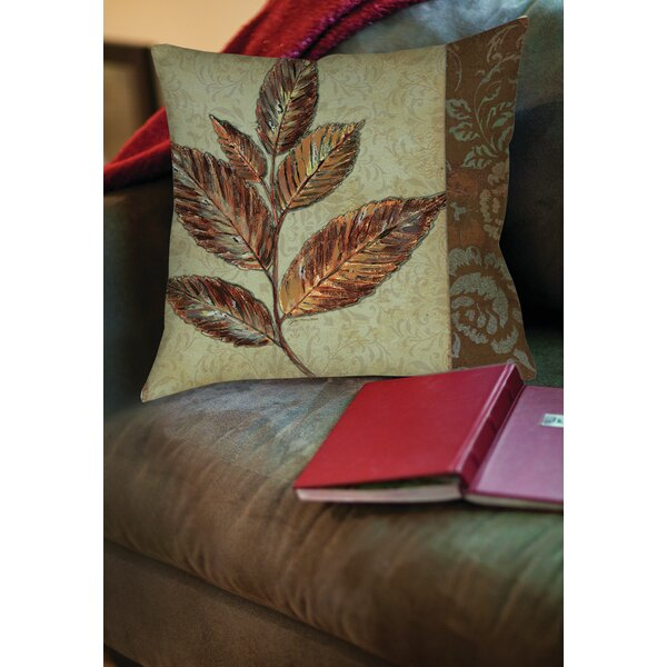 Golden Leaf 1 Printed Throw Pillow by Manual Woodworkers & Weavers