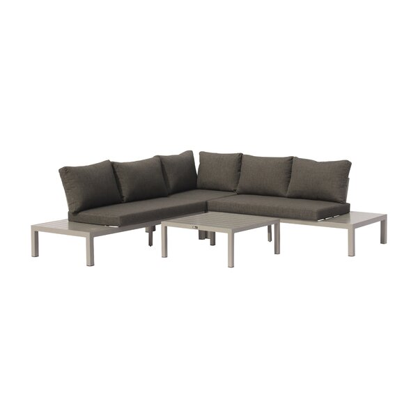 August Euart Outdoor 4 Piece Sectional Seating Group with Cushions by Modern Rustic Interiors