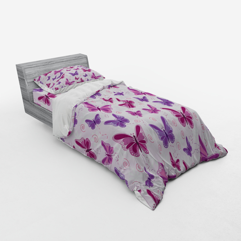 Girl Wings Butterflies Print Fairy Quilted Bedspread /& Pillow Shams Set