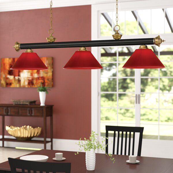 Zephyr 3-Light Cone Shade Pool Table Light with Hanging Chain by Red Barrel Studio